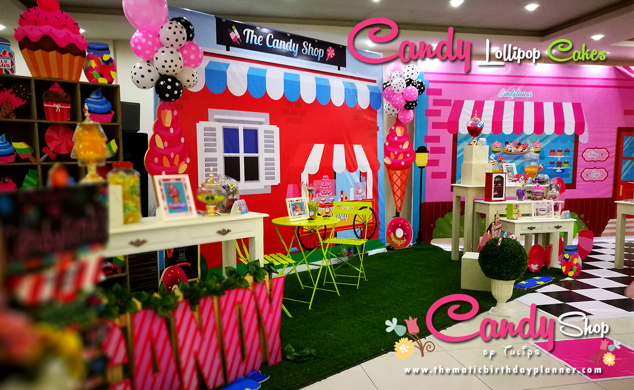 Candy shoppe birthday party backdrop design by tulips events in Pakistan