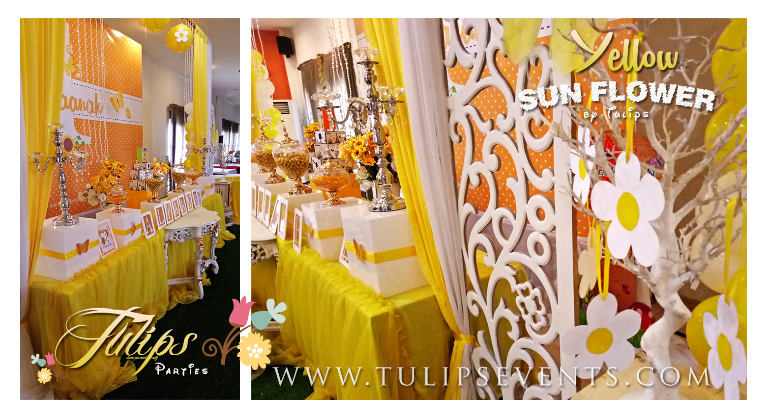 Yellow sunflower birthday party theme ideas in Pakistan