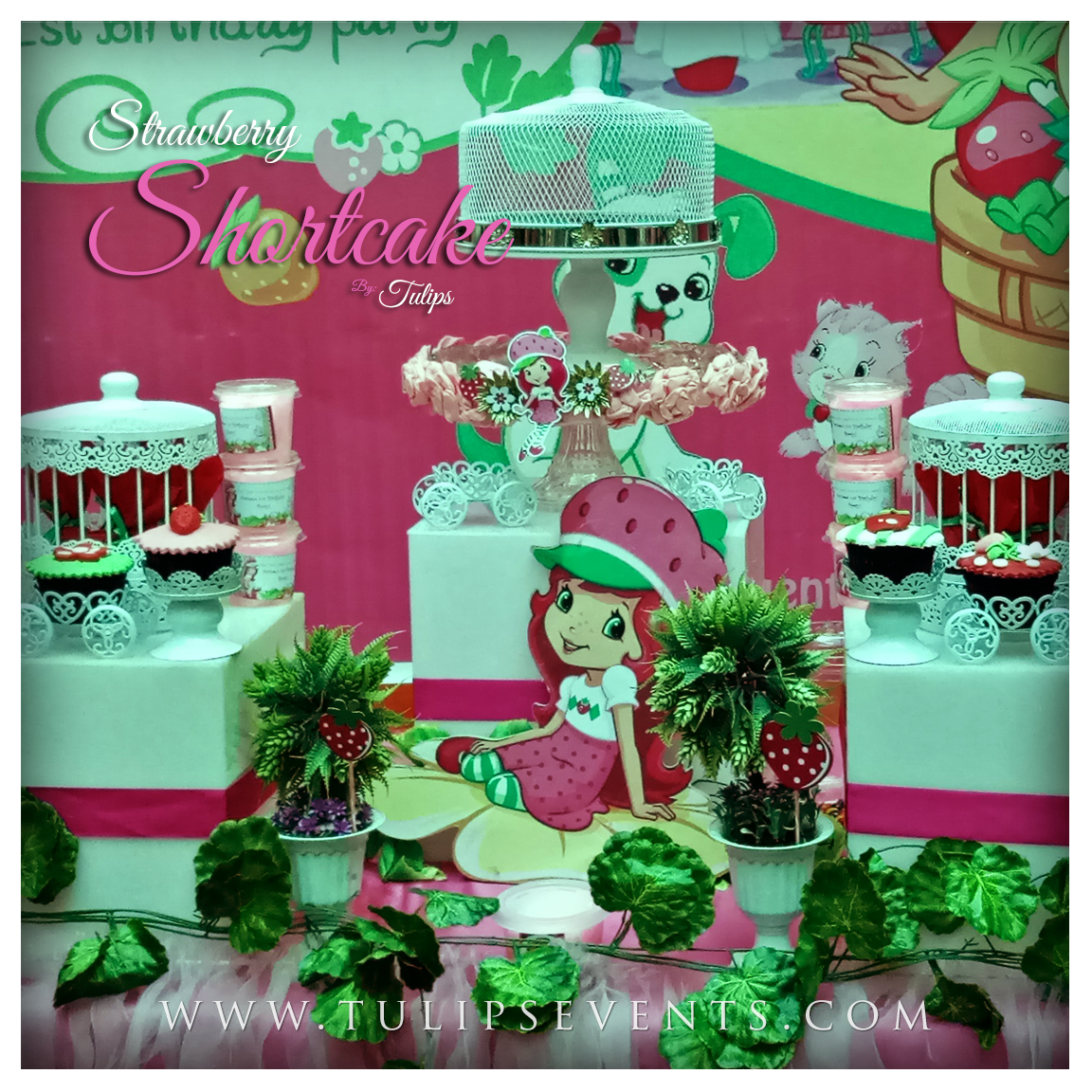 strawberry shortcake themed birthday party cupcakes in Pakistan