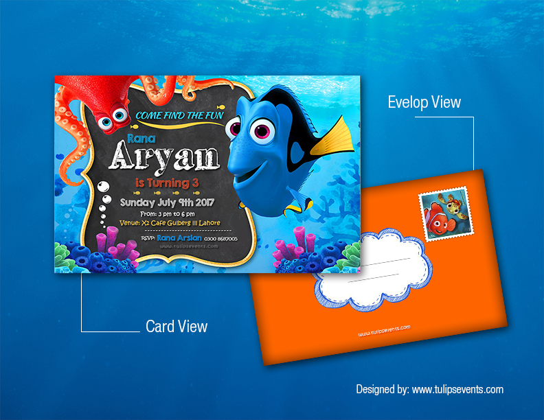 finding nemo invitation card template design by tulips events Pakistan