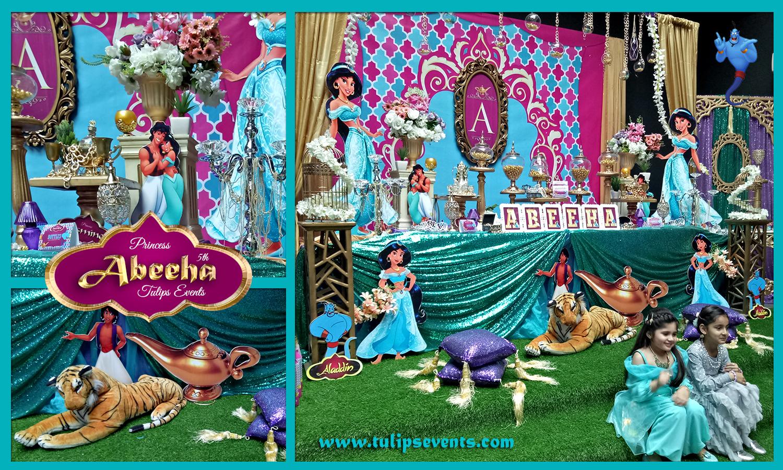 princess jasmine birthday party theme decoration ideas in